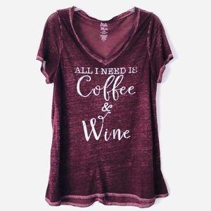 • funny v-neck coffee & wine graphic tee •